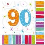 16 serviettes anniversaire 90 ans
