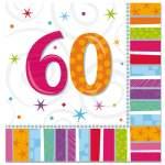 16 serviettes anniversaire 60 ans