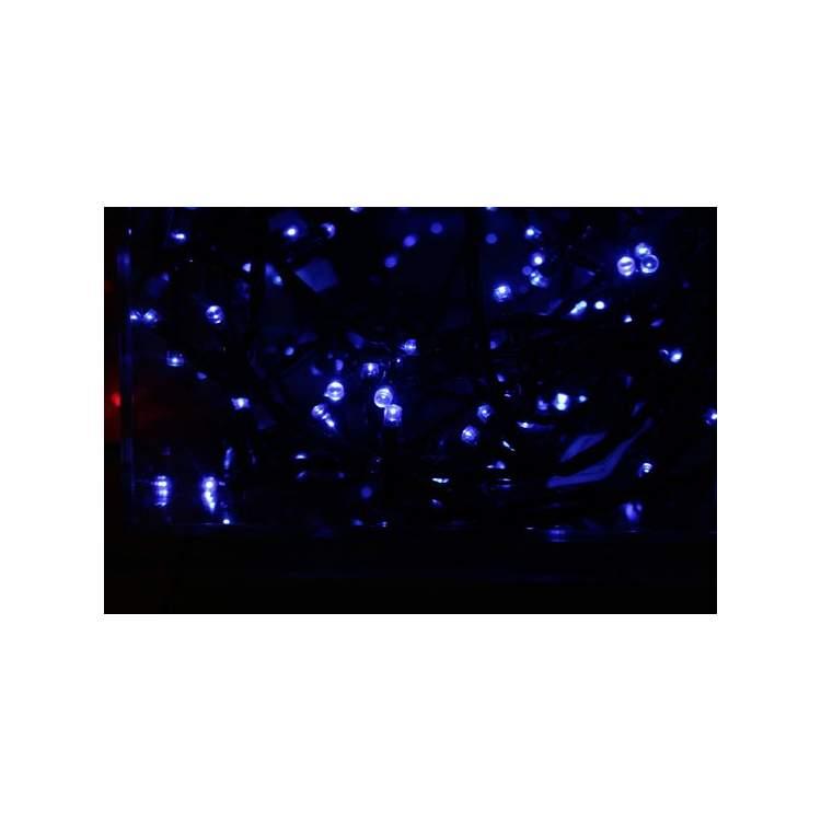 Guirlande solaire clignotante bleu m ga f te - Guirlande lumineuse exterieur bleu ...